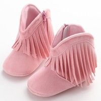 Mama | Moccasin Moccs Newborn Baby Girl Boy Solid Fringe Shoes Infant Toddler Soft Soled Anti-slip Boots