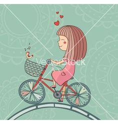 Enamored+girl+on+bicycle+vector+1177634+-+by+samiola-la-la on VectorStock®