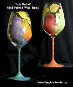 Hand Painted Wine Stems
