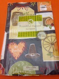 Thanksgiving Family Harvest Vinyl Tablecloth Flannel Backing 52 X 52 Inch  New 03