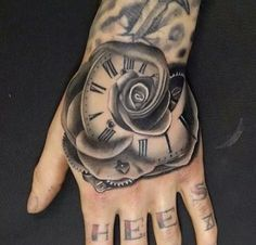 Flower Tattoo// Hand Tattoo// Tattoo Ideas// Black & white Tattoo// Clock Tattoo// Roman Numeral Tattoo