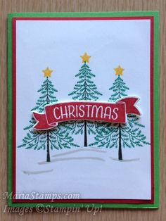 MariaStamps.com Peaceful Pines and Time of Year stamp sets were used.