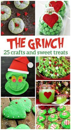 25 GRINCH CRAFTS & SWEET TREATS - Kids Activities Grinch Party, Le Grinch, Grinch Christmas Party, Christmas Goodies, Christmas Treats, Winter Christmas, Christmas Holidays, Christmas Desserts, Christmas Cactus
