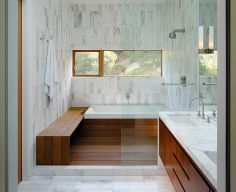 $33,000 Space saver layout. Love the wood floor in a shower. dual showers on the right and tub on the left. windows on tub side. the bench could be a removable bench over the tub if we need to go smaller. Marble - complex, Traditional, European, Double, Undermount, Tile