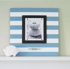 BIG 24X24 Blue Stripe Cleat Frame For 8x10 Photo by ProjectCottage, $105.00