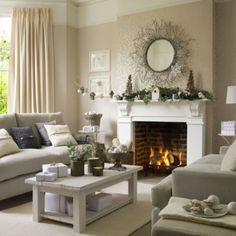 Shabby chic living room is an idea to exert more of your creativity to your room. The effect of this decoration is to make the room to feel cozier and shabby chic living room decor, shabby chic living room furniture, shabby chic living room ideas Winter Living Room, Christmas Living Rooms, My Living Room, Home And Living, Modern Living, Cozy Living, Small Living, Living Room Decor Country, Shabby Chic Living Room