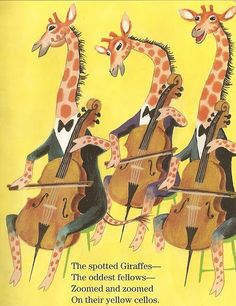 Spotted giraffes on their yellow cellos.