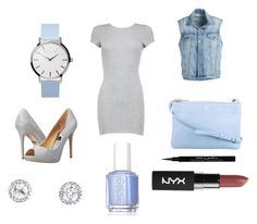"""""""Gray and Blue"""" by cvlacques ❤ liked on Polyvore featuring Boohoo, Badgley Mischka, Frame Denim, Givenchy and Essie"""
