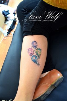 Balloons by Javi Wolf Wasn't going to get another tattoo, but I love the watercolor effects of this artist! Maybe a trip to Cancun is in order.