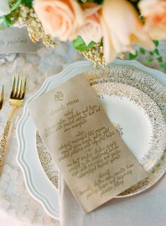 Menus + Calligraphy + Place Setting - See More Wedding Inspiration here: http://www.StyleMePretty.com/2014/05/16/a-monochromatic-inspired-wedding-shoot-part-ii/ Concept, Styling + Floral Design: OakAndTheOwl.com - Photography: CarmenSantorelliStudio.com - Calligraphy: TwinkleAndToast.com