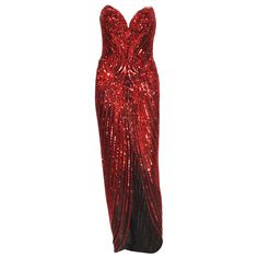 Bob Mackie 1982 Red Fully Beaded Dress Gown | From a collection of rare vintage evening dresses and gowns at https://www.1stdibs.com/fashion/clothing/evening-dresses/