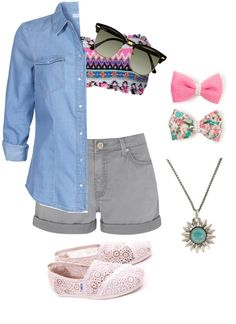 """""""girly, summer outfit ♡"""" by sarahnaomixo on Polyvore"""