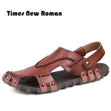 Nueva Llegada de Cuero Suave Sandalias de Playa para Hombres zapatos de Verano Zapatos Masculinos de Cuero De Costura Retro Classics Zapatillas para Los Hombres(China (Mainland))