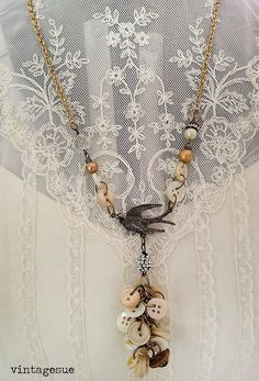 primitive flight!~OOAK, upcycled, reclaimed, cast off buttons, MOP buttons, button style charm necklace, bird pendant, shabby, PRIM