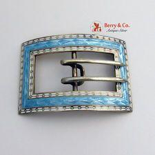 Light Blue Guilloche Enamel Belt Buckle Sterling Silver William Kerr