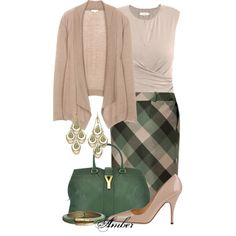 """Forest & Old Rose Plaid Skirt"" by stay-at-home-mom on Polyvore  love this whole look"