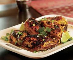 Indian-Spiced Chicken with Lime & Cilantro Recipe. Serve with Basmati Rice Pilaf with Pistachios and Spinach with Yogurt and Chickpeas.