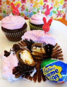 These Cadbury Cream Creme Egg Cupcakes Define Easter Desserts #easter trendhunter.com