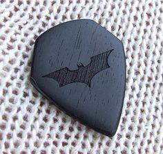 The Dark Knight Tribute Pick - Handmade Laser Engraved Exotic Gabon Ebony Premium Guitar Pick*Dylan*