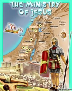 Map of the Ministry of Jesus Christ - from kidsbiblemaps;  includes information about each of the numbered cities
