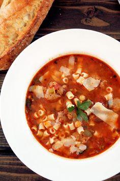 Pasta e Fagioli Soup with Italian Sausage - Creole Contessa