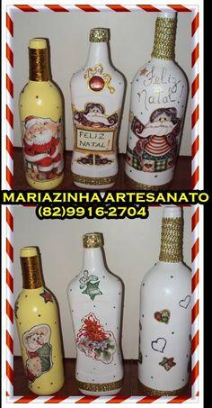Garrafas decorativas - Natal.