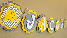 It's a Boy or Girl or Name Elephant Banner Chevron Stripe Polka Dot Gender Neutral Yellow Gray Baby Shower or Birthday Party Decorations on Etsy, $26.00