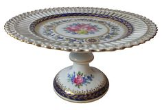 Dresden Hand-Painted Cake Stand
