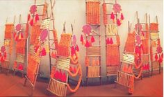 Magic with marigold | DIY decor ideas for the wedding house | Standing props - ladders with marigold strings| Curated By Witty Vows
