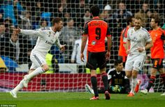 Real Madrid 4-1 Real Sociedad | Sergio Ramos wheels away in celebration after giving Real Madrid the lead 10 minutes before half time. #halamadrid