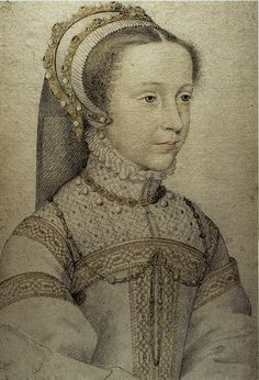 Mary Queen of Scots by François Clouet. She was of Tudor blood, and her husband was a Stewart. As first cousin to Elizabeth I of England, her son James became heir to the throne of England and Scotland, and thus, the United Kingdom.