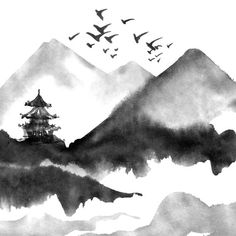 Chinese landscape with mountain, birds, river, trees, pagoda. Japanese Ink Painting, Zen Painting, Japanese Watercolor, Chinese Landscape Painting, Japan Painting, China Painting, Landscape Art, Landscape Paintings, Chinese Drawings