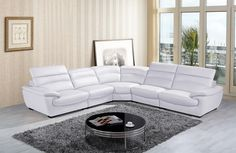 Modern Leather Sectional Sofa furniture in White - $2875.13 -- Features: Upholstered In White Top Grain Leather/Leather Split #sofas #furniture #LAfurniture #sectionalsofa #sectionals #couches #Furnituredesign #HomeDecor #whitesofa #leathersofa