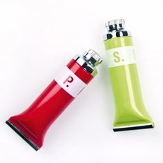 Salt & Pepper Shaker Set P.S. - tube shaped shakers made of acrylic - great gift for an artist friend (or yourself!)