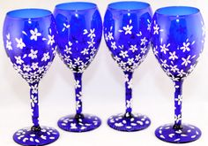Wine Glasses - Cobalt Blue (4) - Cherry Blossom Design - Hand Painted by CosmicSparkDesigns on Etsy