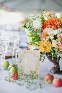 #table-numbers, #centerpiece  Photography: Jasmine Star - www.jasminestar.com  Read More: http://www.stylemepretty.com/2014/10/24/natural-romance-in-wine-country/