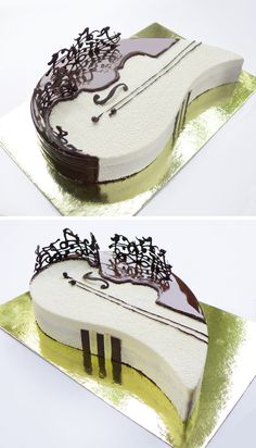 I love the idea of the sheet music done in chocolate and stood upright on the cake. Pretty Cakes, Cute Cakes, Beautiful Cakes, Amazing Cakes, Fancy Desserts, Fancy Cakes, Delicious Desserts, Cake Cookies, Cupcake Cakes