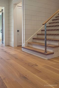 Wide Plank White Oak Hardwood Floor By Oak And Broad With Custom Stain | Matching Stair Treads | Discover more at http://OakAndBroad.com/nashville-tennessee-wide-plank-white-oak-flooring/