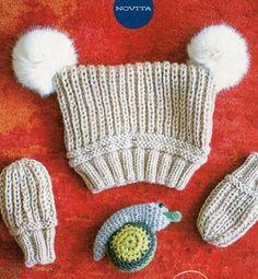 Детская шапочка и варежки спицами