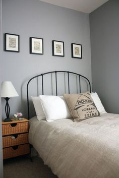 Color combo for the bedroom: white, linen beige, gray, and some natural (rattan). Very serene.