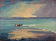 """A Flat Calm on a High-Prowed Boat Winston Churchill c. 1925  Churchill was forty before he discovered the pleasures of painting. As he put it: """"...experiments with a child's paint-box led me the next morning to produce a complete outfit in oils."""" Characteristically, Churchill's first word of advice to budding artists was """"audacity."""" He said, """"When I get to heaven I mean to spend a considerable portion of my first million years in painting, and so get to the bottom of the subject..."""""""