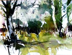 Watercolor Scenery, Abstract Watercolor Art, Watercolor Landscape, Watercolor Illustration, Abstract Landscape, Landscape Paintings, Watercolor Paintings, Watercolours, Art Pictures