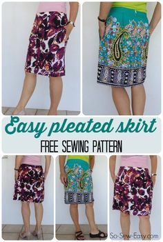 Free pattern, tutorial and video for how to make an easy pleated skirt for summer. Even has optional pockets!