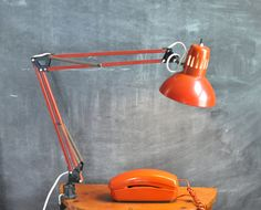 Vintage Orange Red Task Lamp Swing Arm Drafting by drowsySwords // Etsy