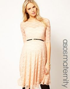 ASOS Maternity | ASOS Maternity Lace Skater Dress With 3/4 Sleeve at ASOS
