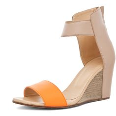 MM6 by maison martin margiela Sandal Wedge in Orange & Beige ($490) ❤ liked on Polyvore