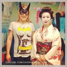 CDI College Calgary South Campus Students on the Halloween Day - Geisha and Catwoman #CDICollege #Calgary #AB #Alberta #Halloween #students #day #geisha #catwoman #fun #funloving #creative #beautiful #fashion #ideas