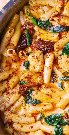 Asiago Chicken Pasta with Sun-Dried Tomatoes and Spinach - with everything smothered in a delicious Asiago cheese sauce. Easy recipe that tastes great and looks great. If you love Asiago cheese, this is a great Asiago Chicken, Chicken Pasta, Shrimp Pasta, Chicken Sausage, Chicken Paprika, Penne Pasta, Pasta Recipes, Cooking Recipes, Vegetarian Recipes