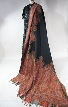 11 Foot Circa 1880 Victorian Jacquard Woven Paisley Shawl