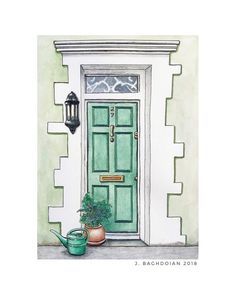 Custom Doorway Painting, Watercolor House Portrait, Realtor Closing Gift, Custom Moving Announcement, Personalized Home Painting from Photo - Custom Doorway Home Portrait – Original Watercolor Painting – Realtor Closing Gift – Home Illustrati House Illustration, Watercolor Illustration, Watercolor Paintings, Original Paintings, Portrait Illustration, Watercolour, Paris Kunst, Paint Your House, Watercolor Architecture